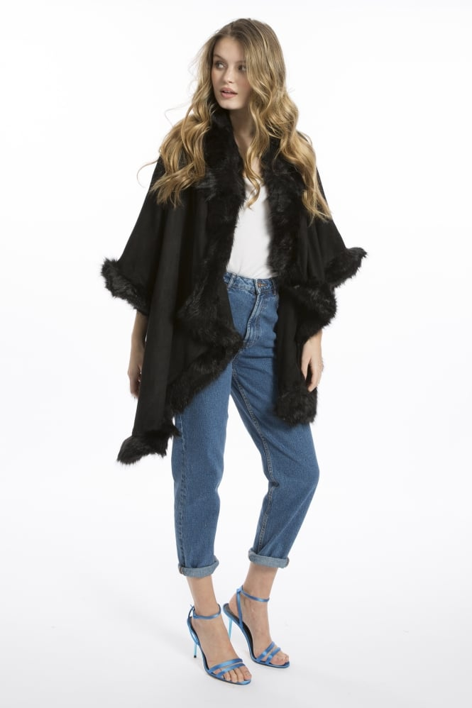 JAYLEY Faux Suede and Faux Fur Jacket