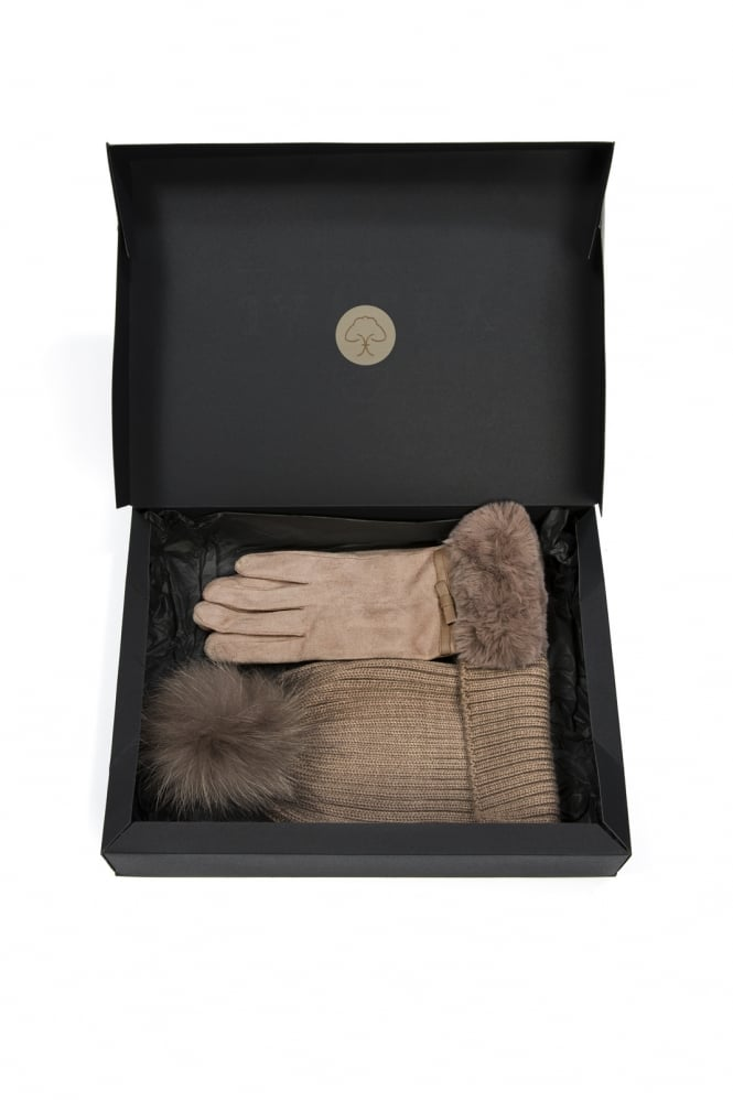 JAYLEY Faux Suede and Fox Fur Gift Set