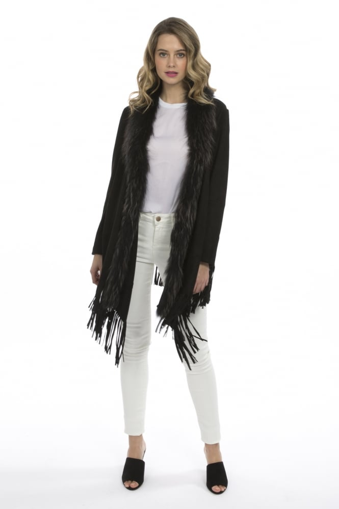 JAYLEY Faux Suede and Fur Coat