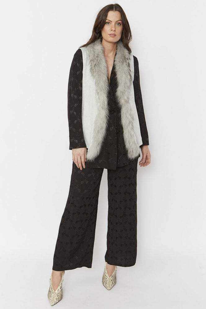 JAYLEY Faux Suede and Fur Gilet