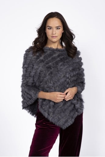 Faux Suede Base Coney Fur Poncho