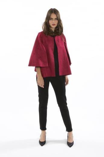 Faux Suede Cape Jacket
