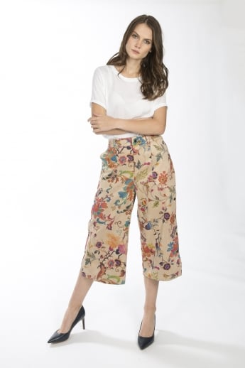 Faux Suede Digital Print Trousers