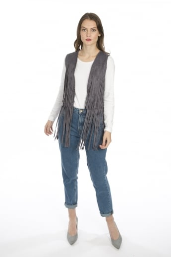 Faux Suede Fringed Gilet