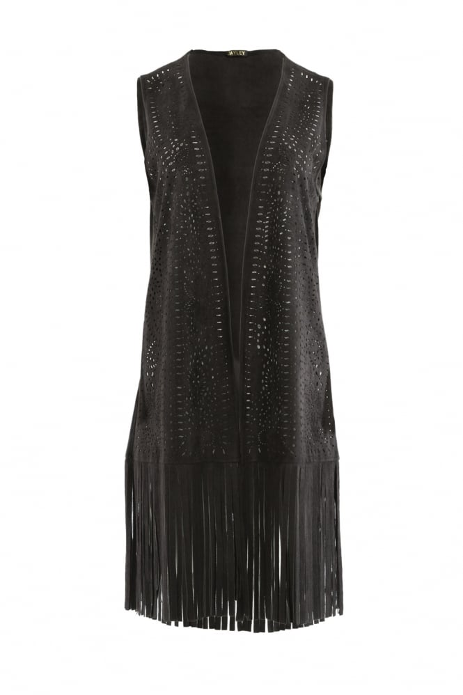 JAYLEY Faux Suede Fringed Gilet