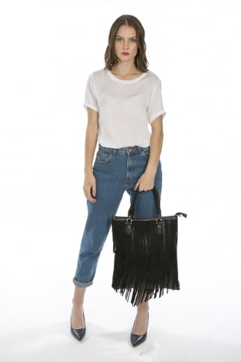 Faux Suede Fringed Tote Bag