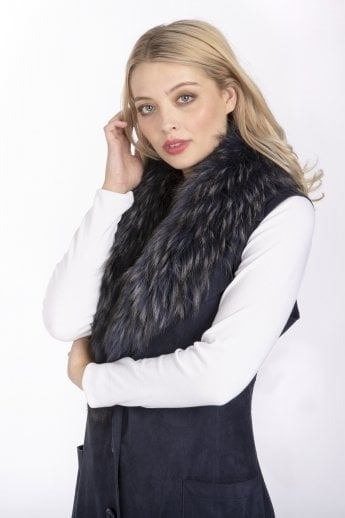 Faux Suede Fur Collar Gilet