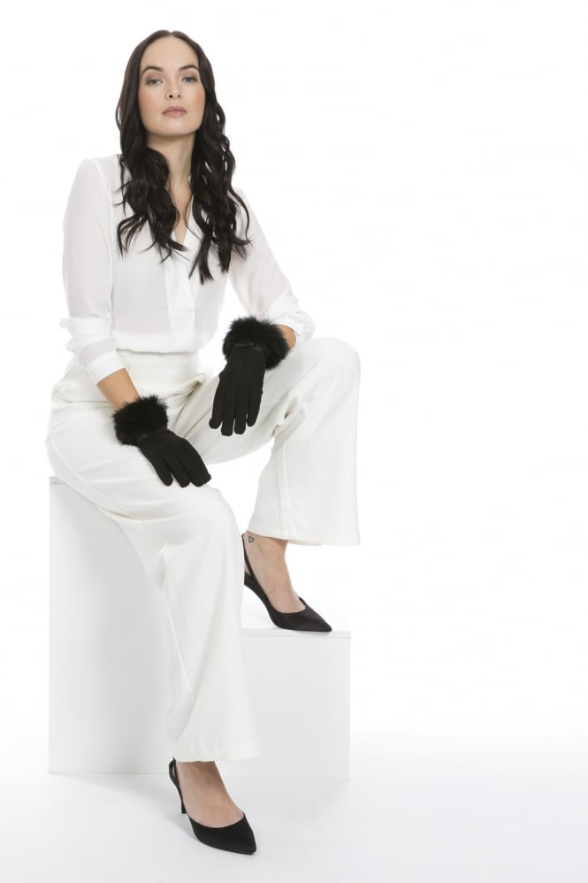 JAYLEY Faux Suede Gloves with Coney Fur Trim
