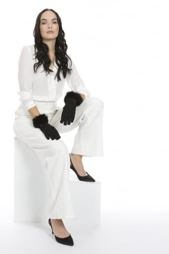 Faux Suede Gloves with Coney Fur Trim