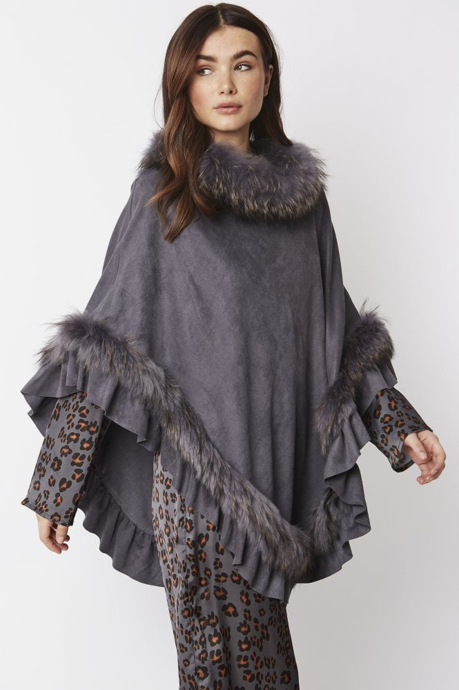 JAYLEY Faux Suede Poncho