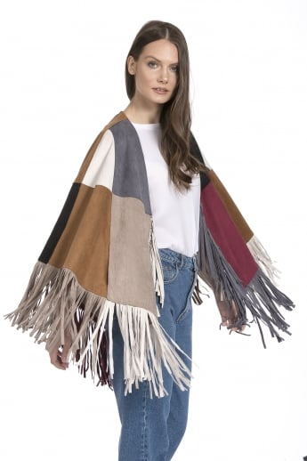 Faux Suede Tassel Cape With Pockets