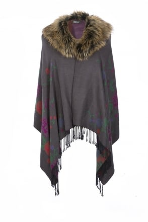 JAYLEY Floral Cashmere Wrap with Faux Fur Collar