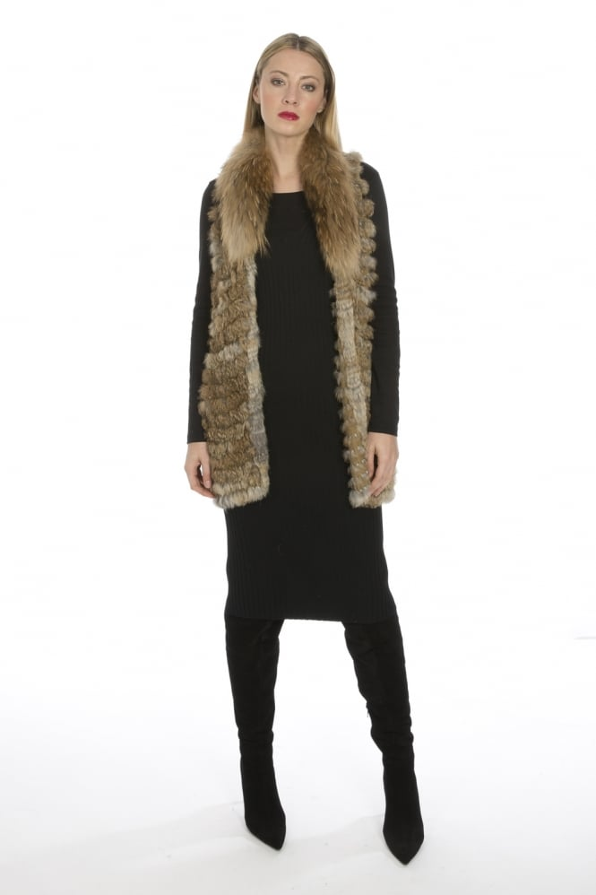JAYLEY Fox and Coney Fur Knitted Gilet