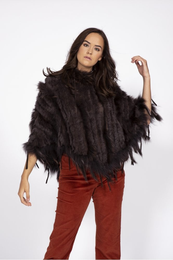 JAYLEY Fox and Coney Fur Poncho