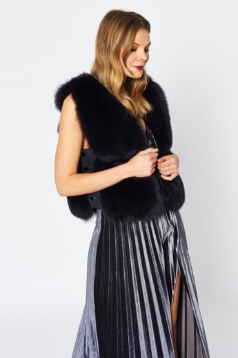 Fox and Leather Short Gilet