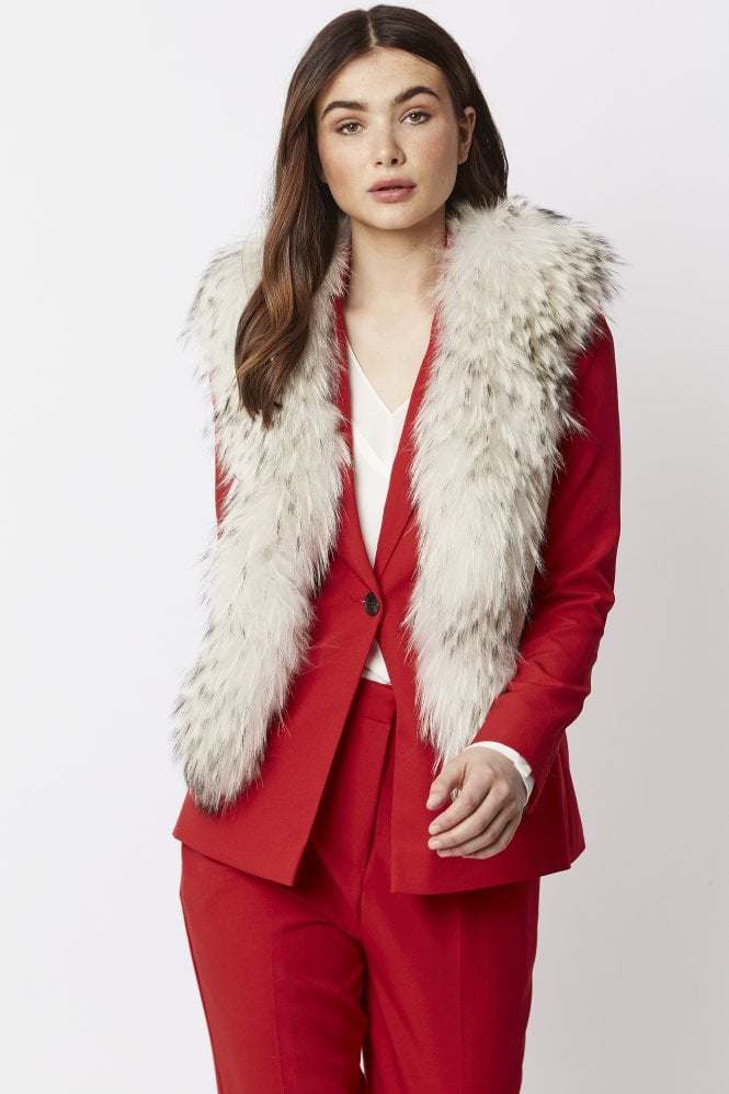 JAYLEY Fox Fur and Faux Suede Gilet