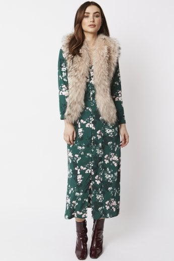 Fox Fur and Faux Suede Gilet