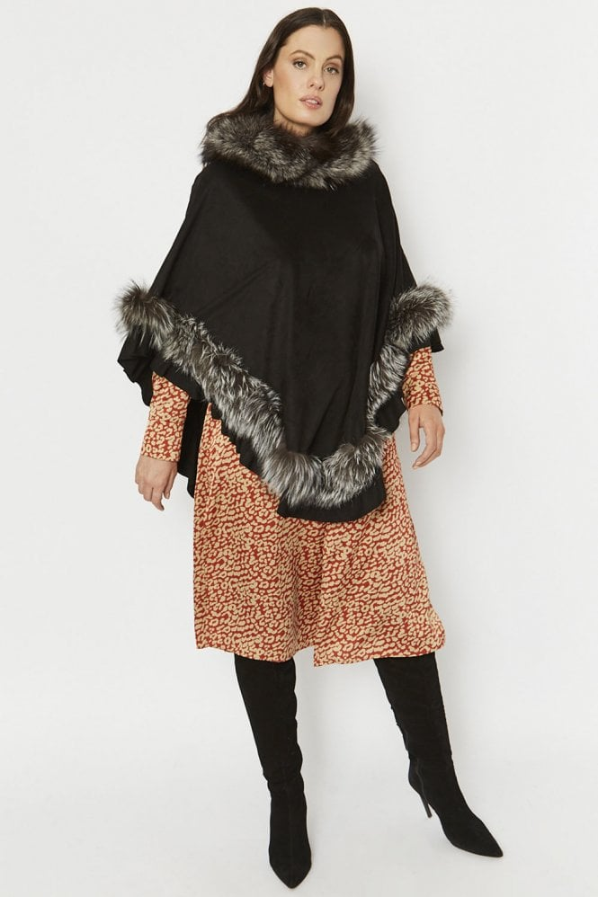 JAYLEY Fox Fur and Faux Suede Poncho