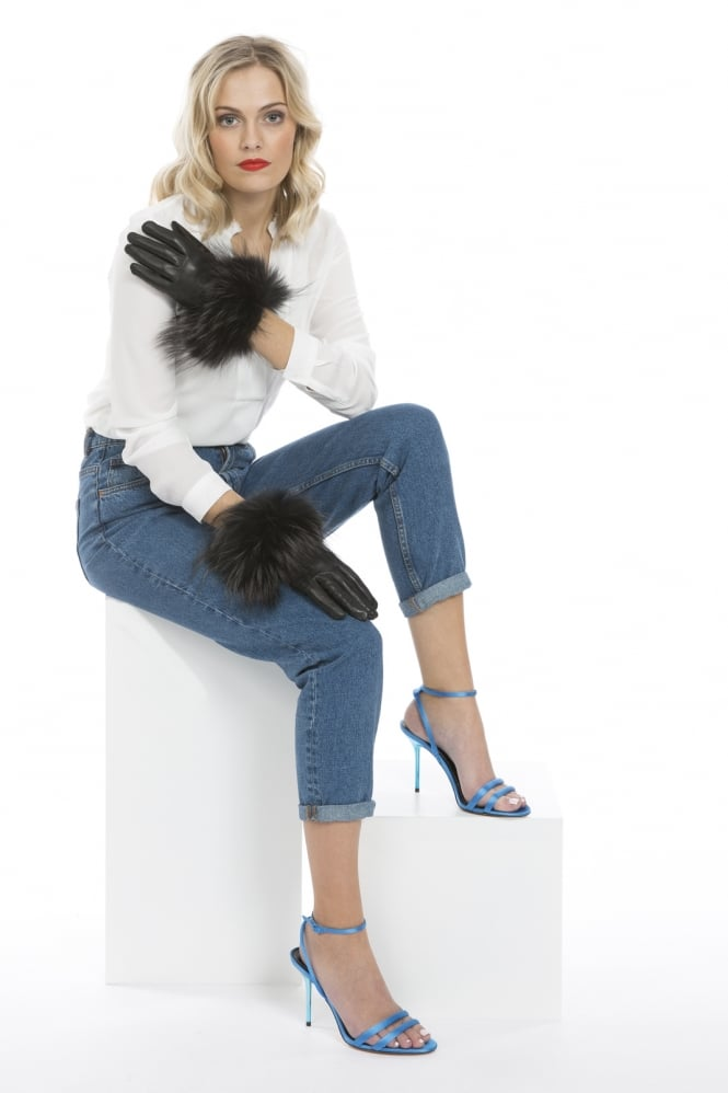 JAYLEY Fox Fur and Leather Gloves