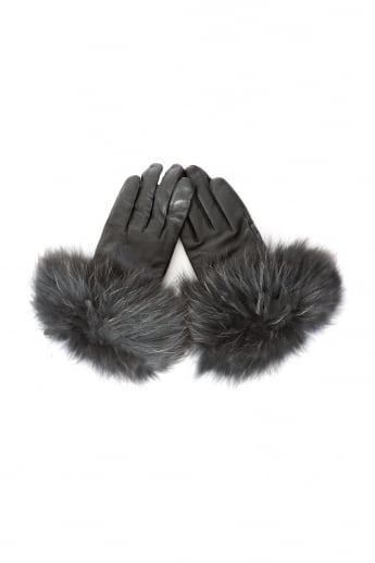 Fox Fur and Leather Gloves