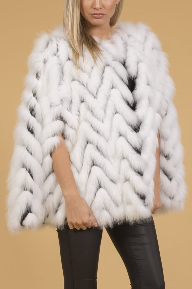 JAYLEY Fox Fur and Suedette Cape