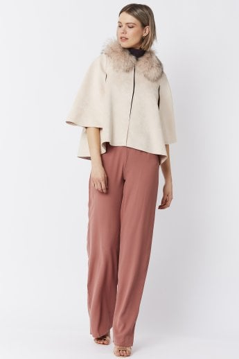 Fox Fur Collar Faux Suede Cape