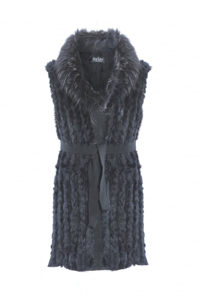 JAYLEY Fox Fur Gilet With Stylish Statement Collar