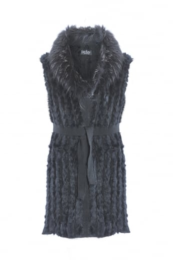 Fox Fur Gilet With Stylish Statement Collar