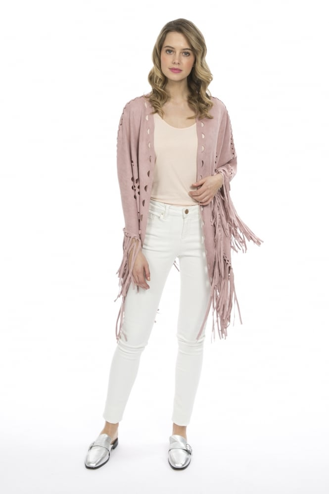 JAYLEY Fringed Faux Suede Cape