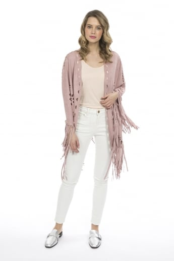 Fringed Faux Suede Cape