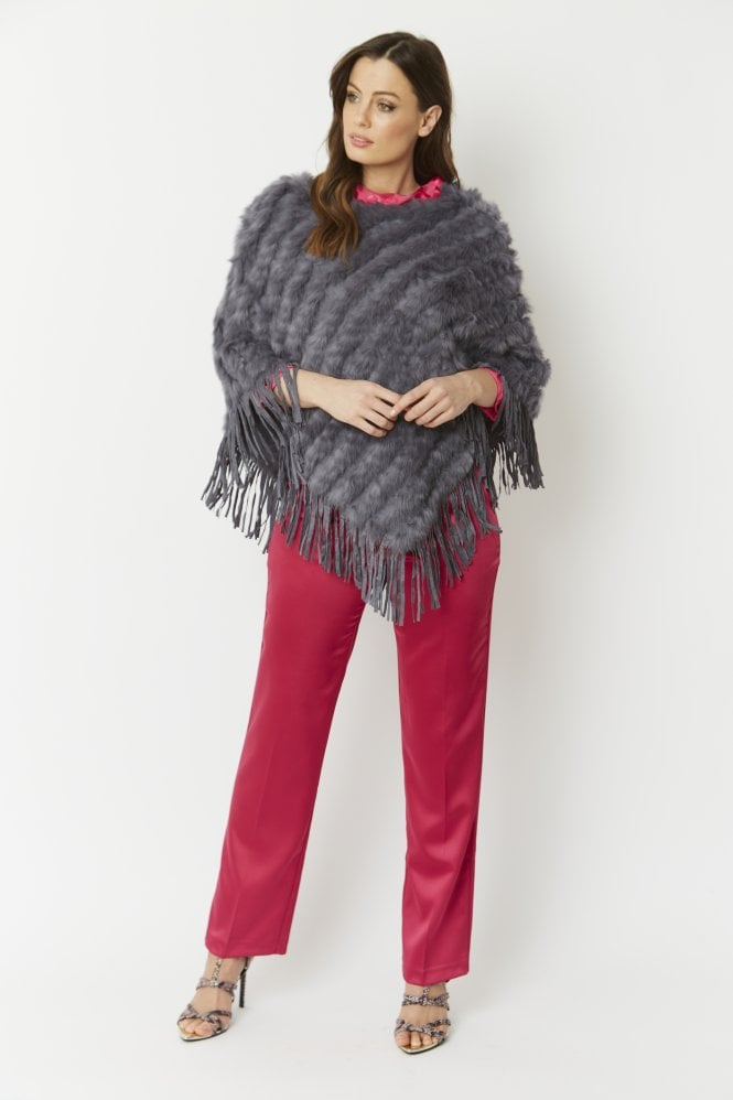JAYLEY Fur and Suedette Poncho