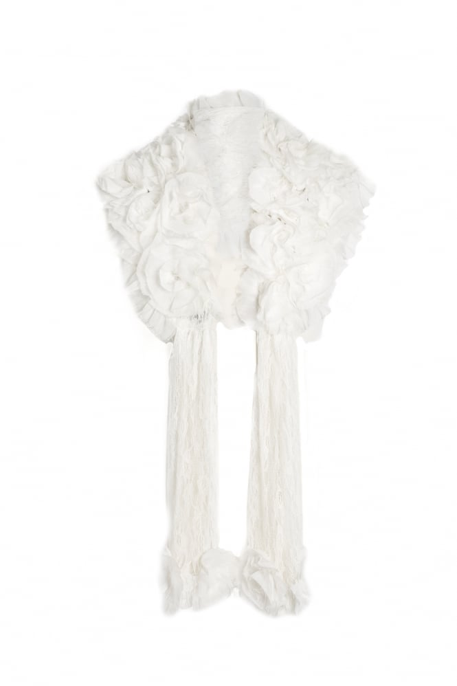 JAYLEY Fur and Vintage Lace Stole