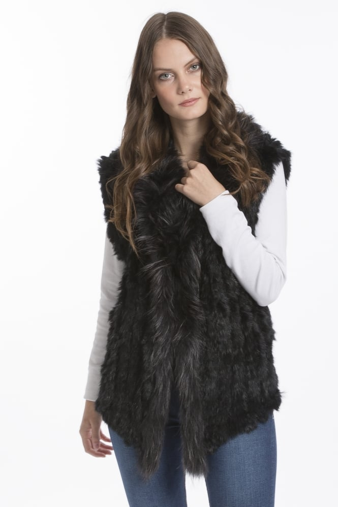 JAYLEY Fur Gilet With Collar Feature