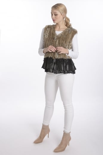 Fur Gilet with Leather Lace