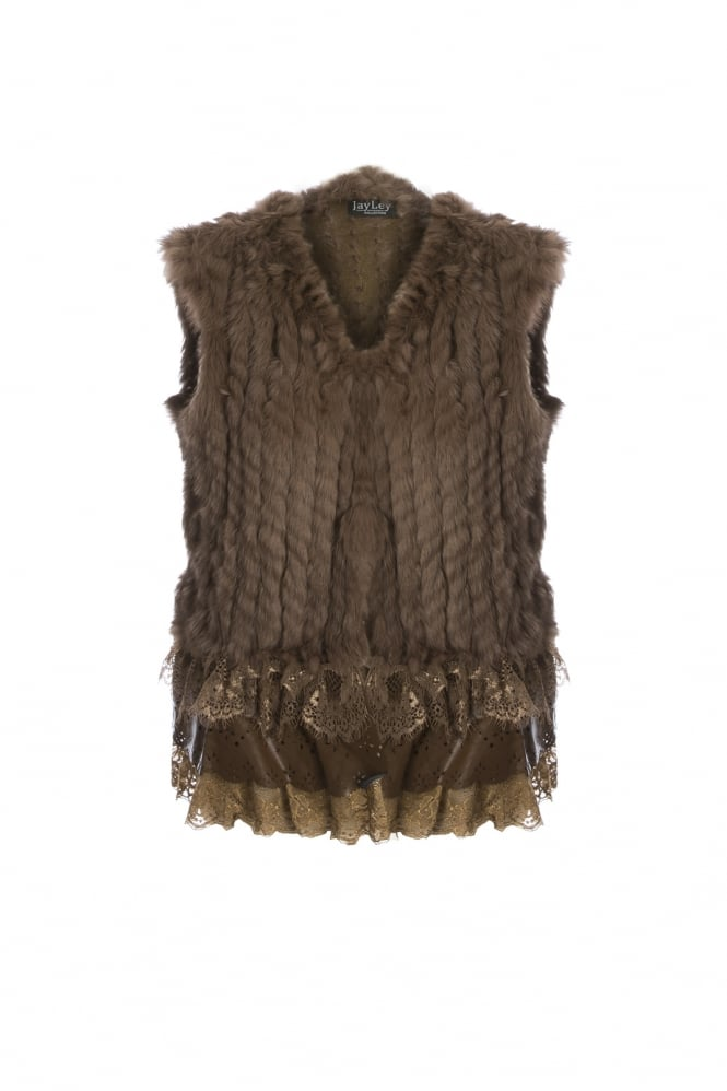 JAYLEY Fur Gilet with Leather Lace