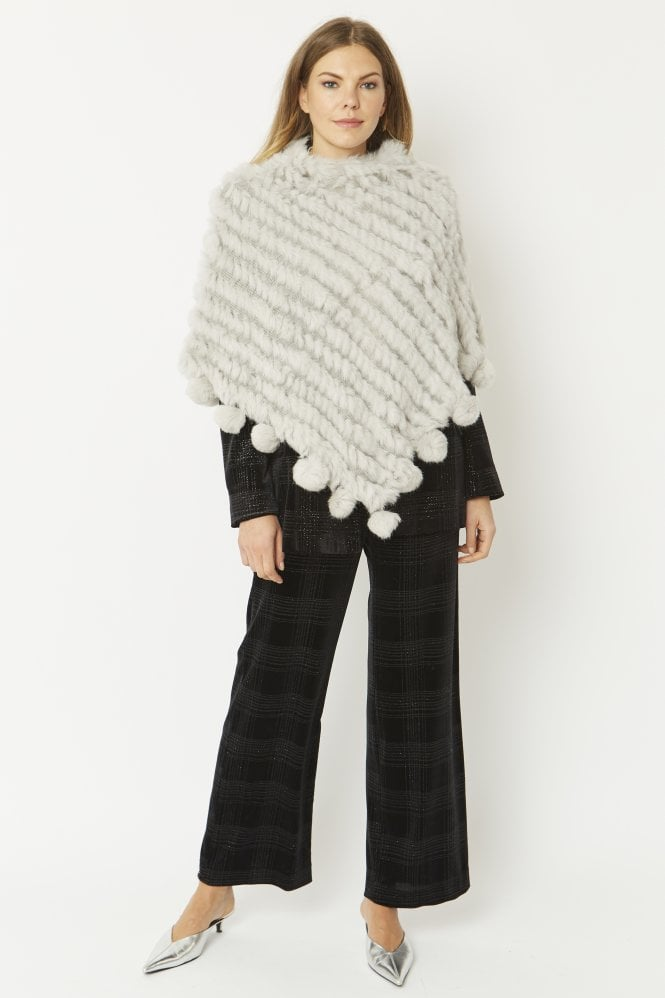 JAYLEY Fur Poncho with Pom Poms
