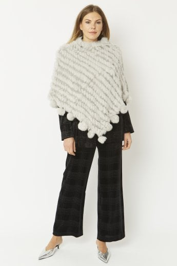 Fur Poncho with Pom Poms