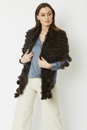 Fur Shawl with Poms