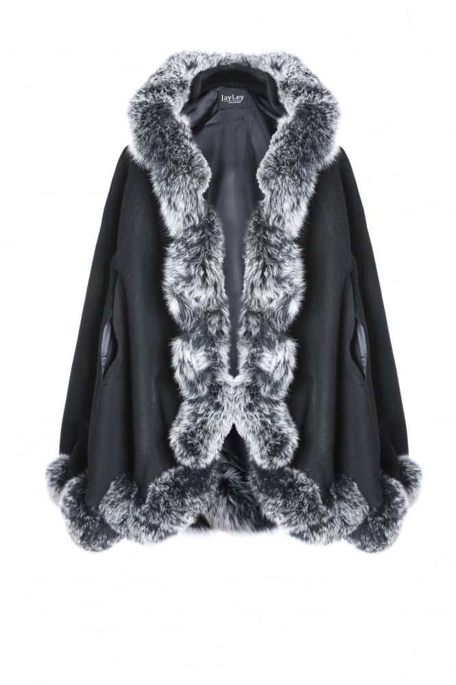 JAYLEY Hooded Cashmere Cape with Fox Fur Trim