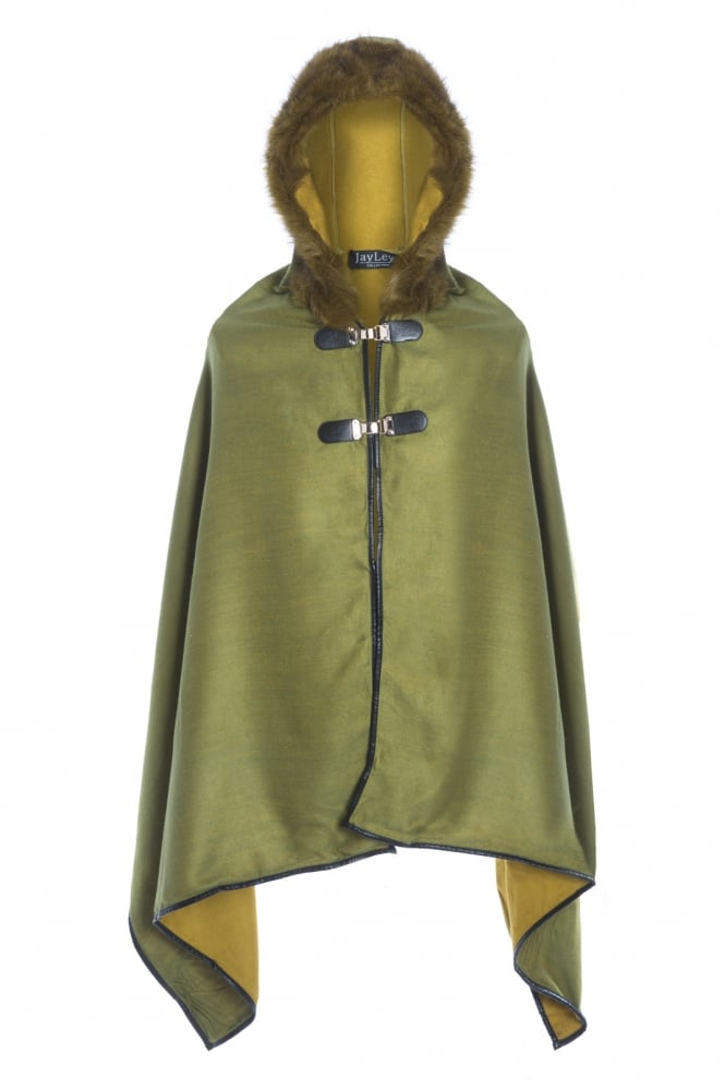 JAYLEY Hooded Cashmere Cape with Fur Finish and Faux Leather Edging