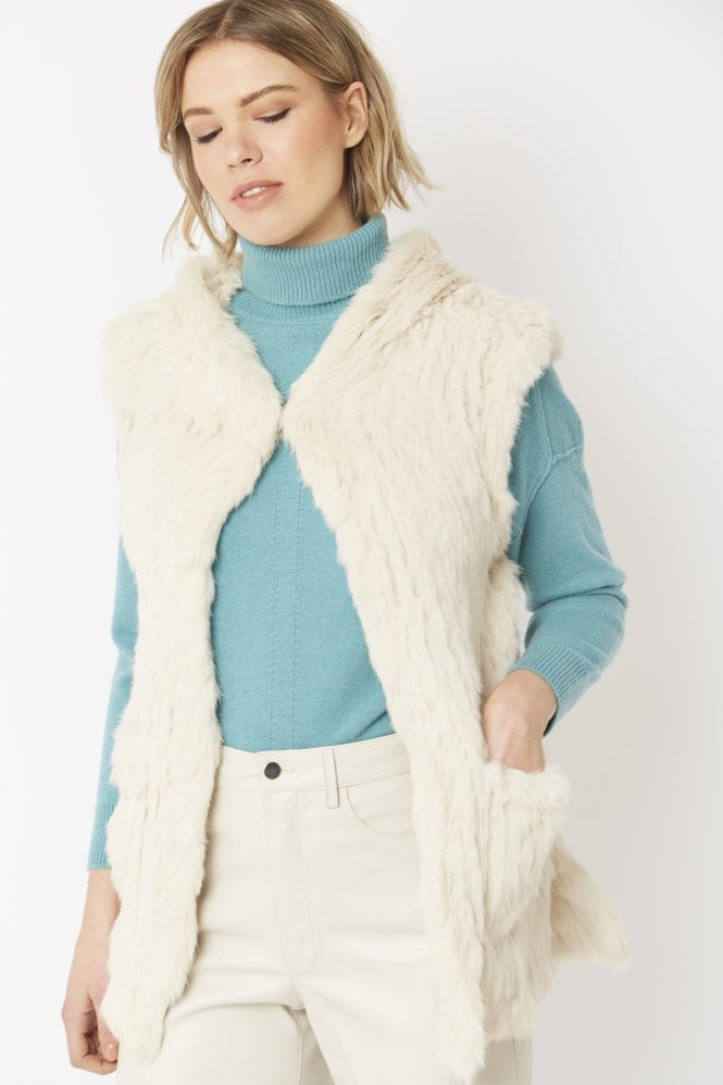 JAYLEY Hooded Long Fur Gilet
