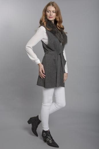 Knit Cardigan with Fur Collar