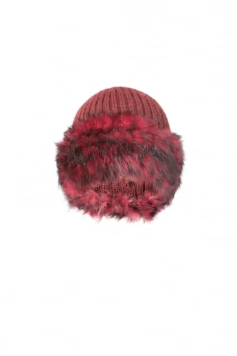 Knit Hat with Fur Finish