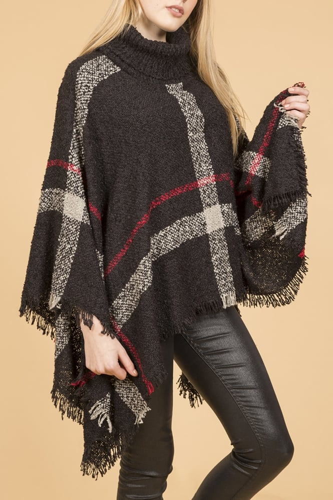 JAYLEY Knitted Pattern Poncho