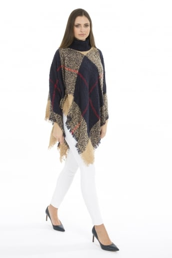 Knitted Poncho with Roll Neck Collar