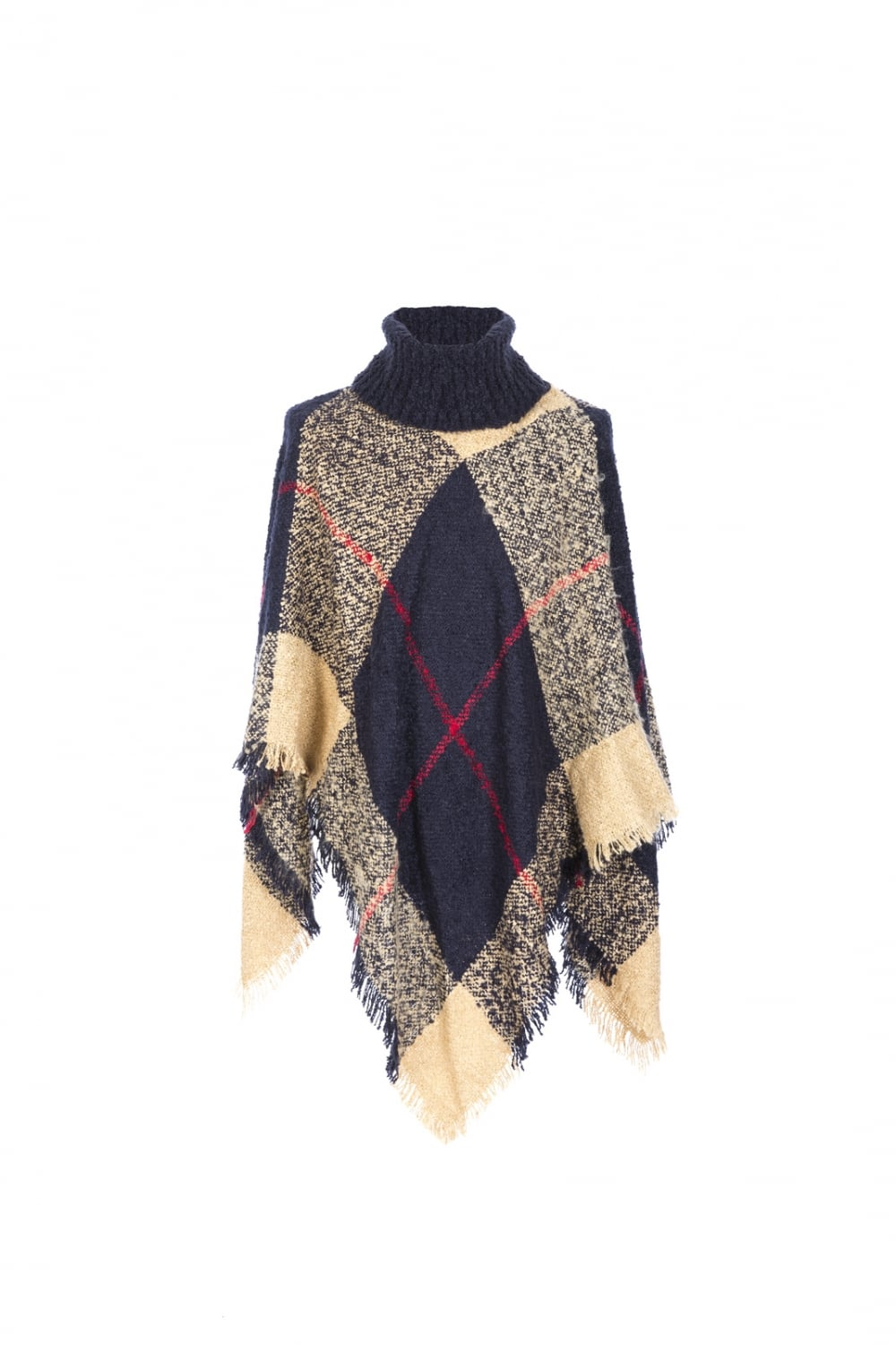 Jayley Luxury Knitted Poncho with Roll Neck Collar