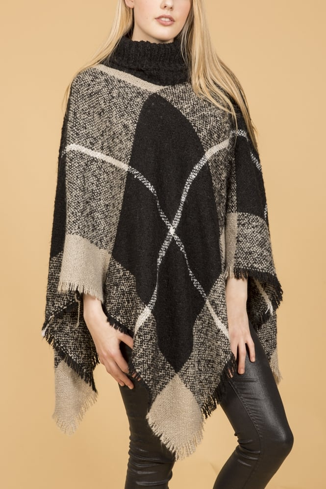 JAYLEY Knitted Poncho with Roll Neck Collar