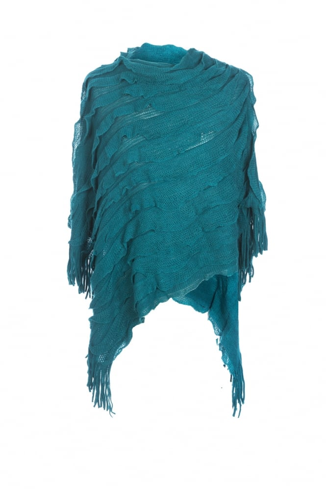 JAYLEY Knitted Ruffle Poncho