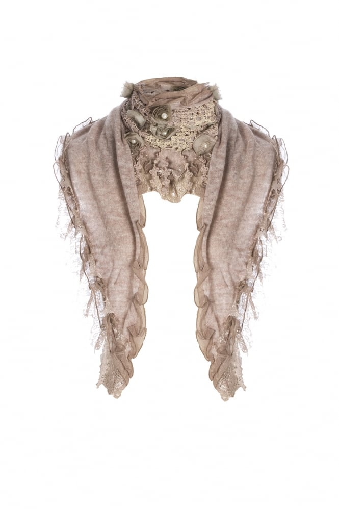 JAYLEY Knitted Scarf with Pearls and Rose Detail