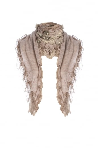 Knitted Scarf with Pearls and Rose Detail